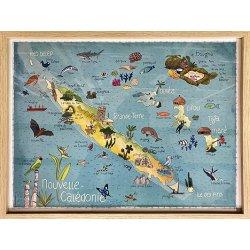 Cadre avec affiche Carte de la Nouvelle-Calédonie A3